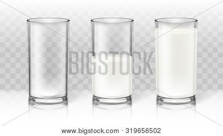 Realistic Transparent Milk In A Glass. Diet Drink Product