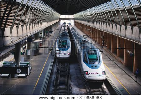 Seville / Spain - August 22 2019: High-speed Renfe Ave Trains At The Platforms At Santa Justa Train