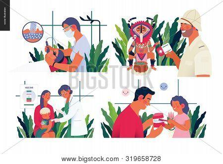 Set Of Medical Insurance Illustration- Childhood Immunization, Medical Assistance All Over The World