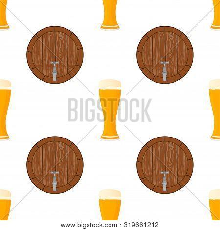 Illustration On Theme Big Colored Pattern Oktoberfest, German Holiday It Fest Beer. Pattern Consisti
