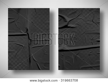 Black bad glued paper realistic vector illustration. Set of wet wrinkled and creased paper sheets with crumpled texture, blank posters glued to street wall or advertising column, mock up for design poster