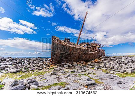 Cargo Vessel Plassey Was A Ship That Was Shipwrecked On The Rocky Beach Of Inis Oirr Island, Abandon
