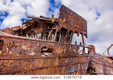 Close Up Of The Plassey Shipwreck On The Rocky Beach Of Aran Island, Abandoned Ship, Old And Rusty O