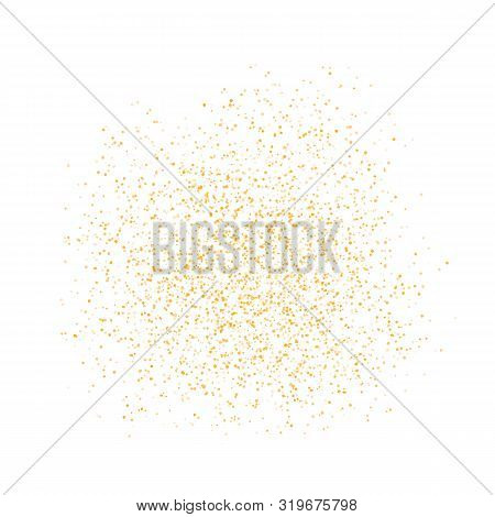 Background Golden Texture Crumbs. Gold Dust Scattering On A White Background. Particles Grain Or San