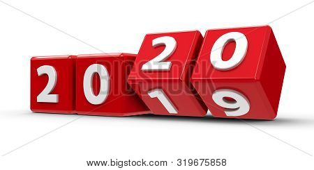 Red Cubes With 2019-2020 Change On A White Table Represents The New 2020, Three-dimensional Renderin
