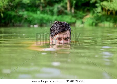 Feeling Playful. Track Someone. Wild Man. Time Relax. Bearded Man Swimming In Lake. Summer Vacation.