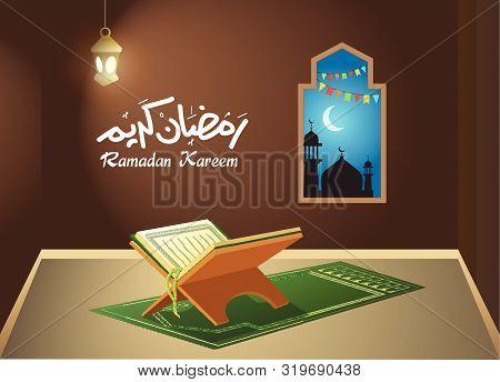 Holy Quran In Worship Room During Night, Ramadan Concept