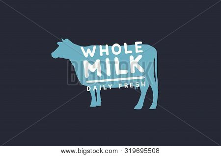 Logo Template With A Blue Cow Silhouette And Whole Milk Inscription. Emblem For Dairy Stores, Market