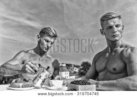 Sexy Torso Attractive Waiter. Man Muscular Athlete Bodybuilder Drinks Coffee. Strong Muscles Emphasi