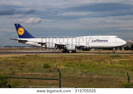 Frankfurt / Germany - August 16, 2014: Lufthansa Boeing 747-8 D-abya Passenger Plane Departure At Fr