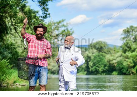 Good Catch. Bearded Men Fishing. Family Day. Lucky And Skilled. Spinners And Tackle. Nice Catch. Bai