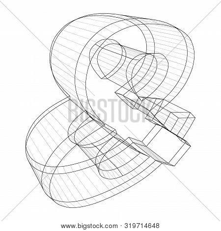 Ampersand Wireframe Symbol On White Background - Vector