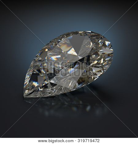 Large Pear-shaped Diamond. 3d Image. Dark Background.