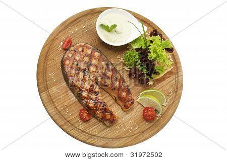 Salmon steak with