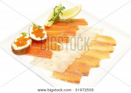 fish and sandwiches with caviar