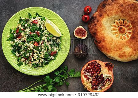 Levantine Vegetarian Salad With Bulgur, Parsley, Tomato. Middle Eastern And Arabic Salad Tabbouleh ,