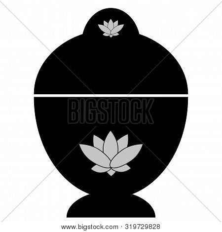 Abstract Buddhist Reliquary With Lotus Flower On A White Background