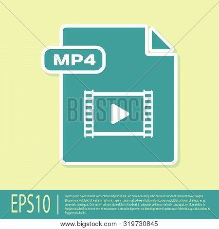 Green Mp4 File Document. Download Mp4 Button Icon Isolated On Yellow Background. Mp4 File Symbol. Ve