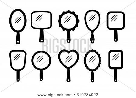 Hand Mirrors With Light Reflection. Blank Handheld Makeup Mirrors. Flat Silhouette Icon Set. Female