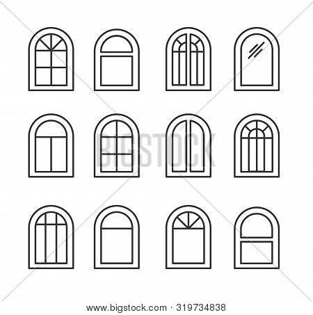 Arched & Arch Window. Casement & Awning Window Frames. Line Icon Set. Vector Illustration. Isolated