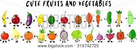 Fruits And Vegetables. Big Collection Of Characters Gesturing And Waving Their Hands.hite Background