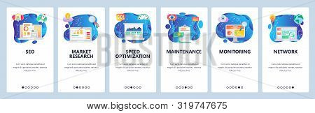 Mobile App Onboarding Screens. Seo, Speed Optimization And Digital Marketing. Market Research. Menu