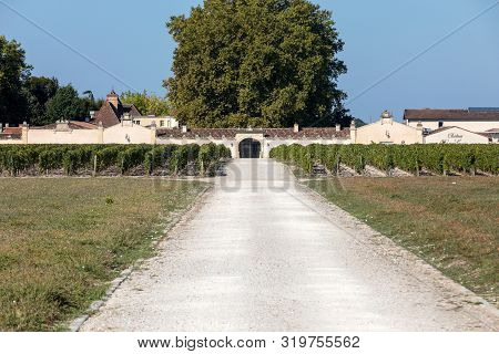 Margaux, France - September 11, 2018: Entrance Road To Chateau Rauzan - Segla In Margaux, Known For