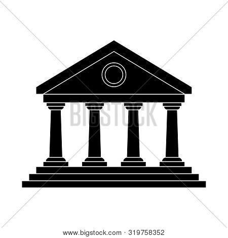 Facade Icon. Public Building Sign Isolated On White Background. Portico Of The Building. Flat Style.