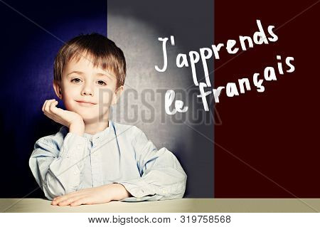 Learn French Language Concept. Happy Child Student And Tittle