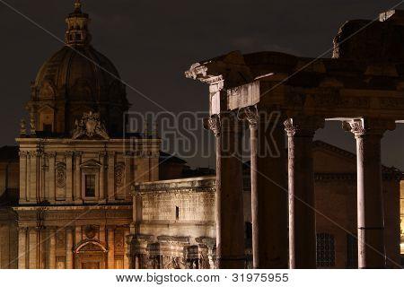 Forum Romanum at night.