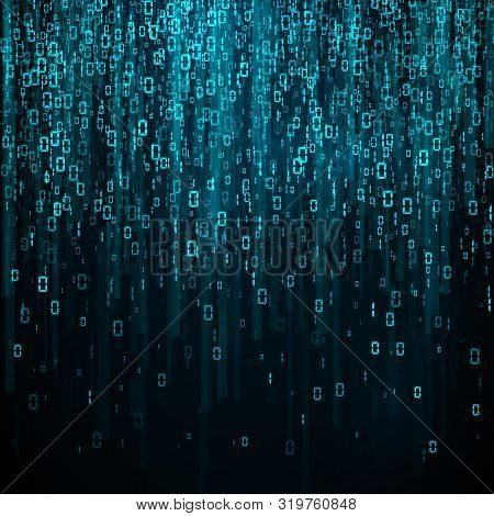 Stream Of Random Binary Numbers. Matrix. Encoding Data. Vector Illustration