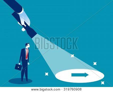 Flashlight Uncovering Hidden Arrow Sign. Concept Business Direction Vector Illustration, Flat Charac