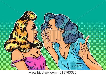 Lifestyle, Emotion And People Concept: Portrait Of Two Happy Young Women Sharing Secrets Pop Art Com