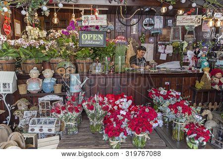 Abu Dhabi, Uae - February 14, 2018: Valentines Day Decorations, Flowers Arrangements At The Gift Sho