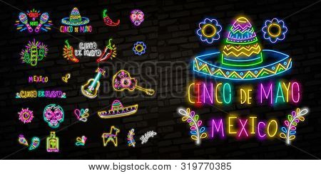 Cinco De Mayo Collection Posters In Neon Style. Set Design Templates Flyers Invitation For Sinco De