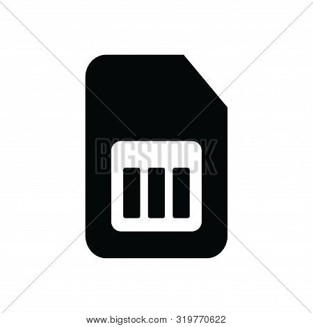 Sim Card Icon Isolated Black On White Background, Sim Card Icon Vector Flat Modern, Sim Card Icon, S