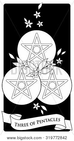 Three Of Pentacles. Tarot Cards. Three Golden Pentacles Surrounded By Orange Blossom Flowers