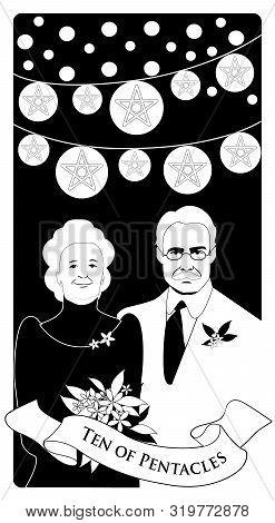 Ten Of Pentacles. Tarot Cards. Elegant And Happy Elderly Couple, Under Bright Lights And Ten Golden
