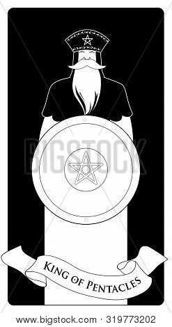 King Of Pentacles With Crown And Long Beard Holding Golden Shield With The Symbol Of The Pentacle In