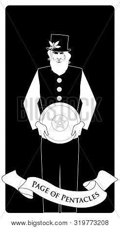 Page Or Knave Of Pentacles With Top Hat Holding A Golden Shield. Minor Arcana Tarot Cards.