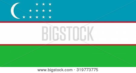 Flag Of Uzbekistan Vector Illustration, Worlds Flags Collection