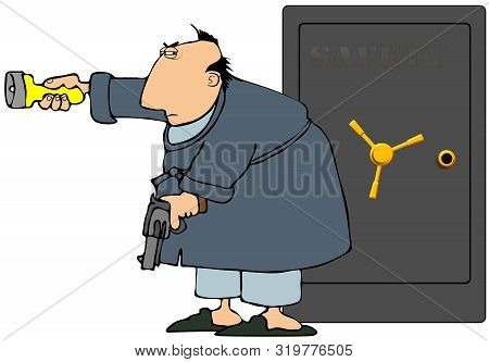Illustration Of A Man Wearing Pajamas And Robe Guarding His Security Safe With A Pistol And A Flashl