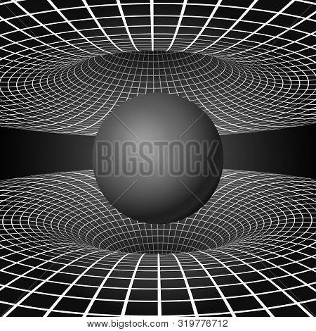 Physics - Anomalous Black Hole Phenomenon. Warp Time And Space. Sci-fi Background. Vector Illustrati