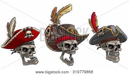Cartoon Detailed Realistic Colorful Scary Human Skulls In Pirate Hat With Badge, Feathers And Mustac