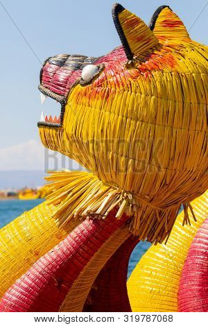 Titicaca Lake Peru, August 16 Detail Of A Typical Boat Made Of Totora That Bring Tourists To Visit T