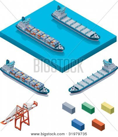 Vector container ship with crane