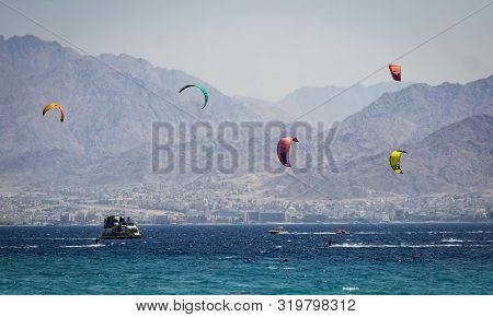 Eilat, Israel - August 28th, 2019: A Variety Of Aquatic Sports Take Place Off The Shore Of Eilat, Is