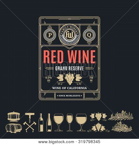 Vector Vintage Thin Line Style Red Wine Label