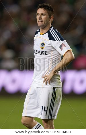CARSON, CA. - OCT 1: Los Angeles Galaxy F Robbie Keane #14 during the MLS game between Real Salt Lake & the Los Angeles Galaxy on Oct 1 2011 at the Home Depot Center.