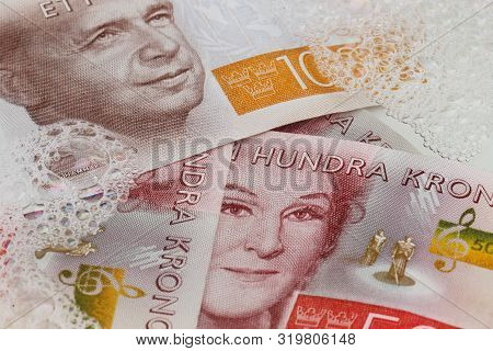 Stockholm, Sweden - August 10, 2019: Swedish Banknotes In Denominations Of 500 And 1000 Krona In Lau